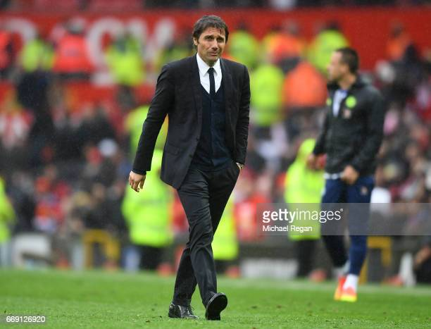 Antonio Conte Manager of Chelsea looks dejected after the Premier League match between Manchester United and Chelsea at Old Trafford on April 16 2017...