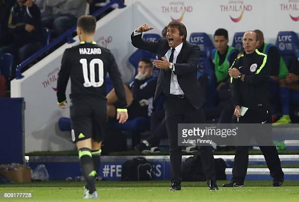 Antonio Conte Manager of Chelsea looks on during the EFL Cup Third Round match between Leicester City and Chelsea at The King Power Stadium on...