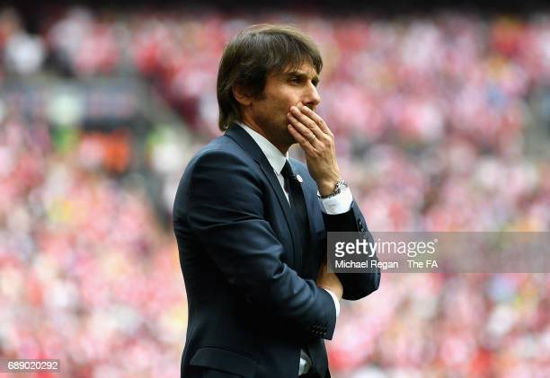 Antonio Conte Manager of Chelsea looks on during the Emirates FA Cup Final between Arsenal and Chelsea at Wembley Stadium on May 27 2017 in London...