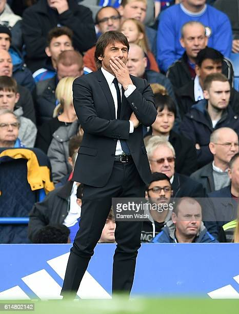 Antonio Conte Manager of Chelsea looks on during the Premier League match between Chelsea and Leicester City at Stamford Bridge on October 15 2016 in...