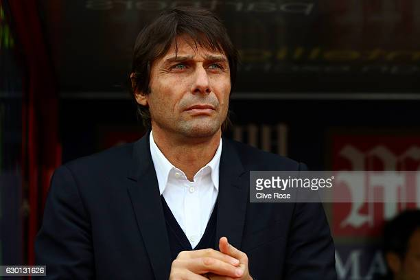 Antonio Conte Manager of Chelsea looks on during the Premier League match between Crystal Palace and Chelsea at Selhurst Park on December 17 2016 in...