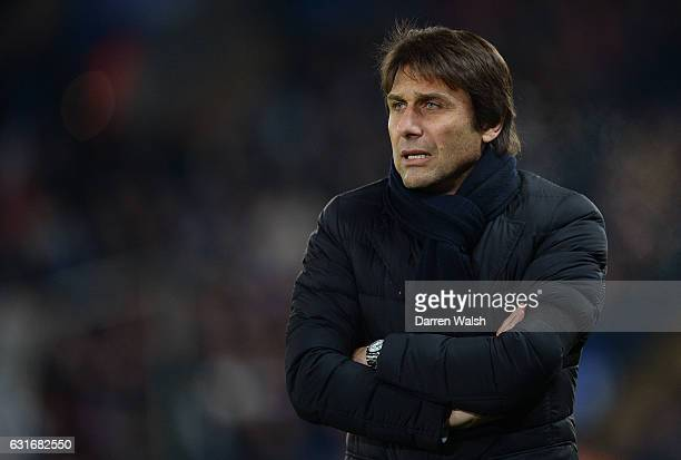 Antonio Conte Manager of Chelsea looks on during the Premier League match between Leicester City and Chelsea at The King Power Stadium on January 14...