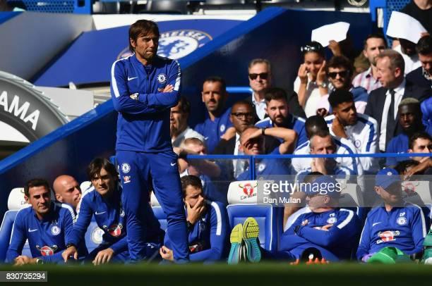 Antonio Conte Manager of Chelsea looks on during the Premier League match between Chelsea and Burnley at Stamford Bridge on August 12 2017 in London...