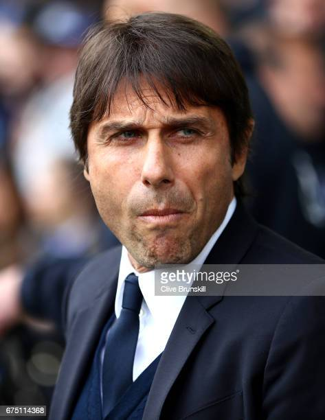 Antonio Conte Manager of Chelsea looks on prior to the Premier League match between Everton and Chelsea at Goodison Park on April 30 2017 in...