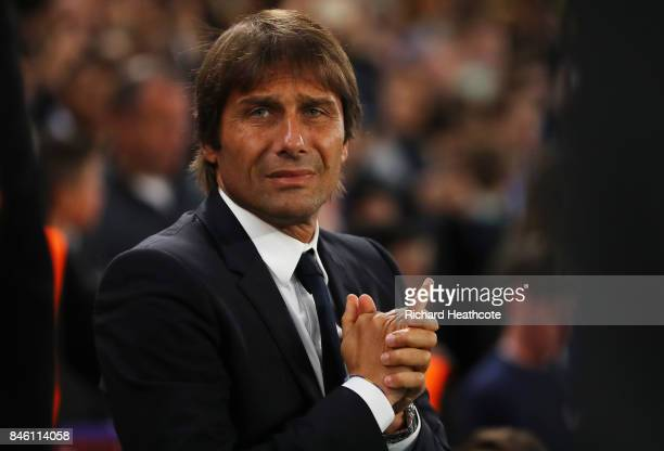 Antonio Conte Manager of Chelsea looks on prior to the UEFA Champions League Group C match between Chelsea FC and Qarabag FK at Stamford Bridge on...