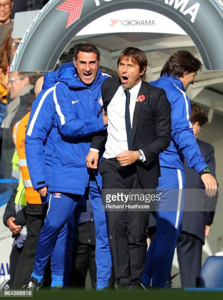 Antonio Conte Manager of Chelsea reacts after winning the Premier League match between Chelsea and Watford at Stamford Bridge on October 21 2017 in...