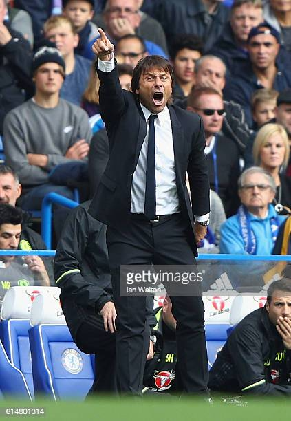 Antonio Conte Manager of Chelsea reacts during the Premier League match between Chelsea and Leicester City at Stamford Bridge on October 15 2016 in...