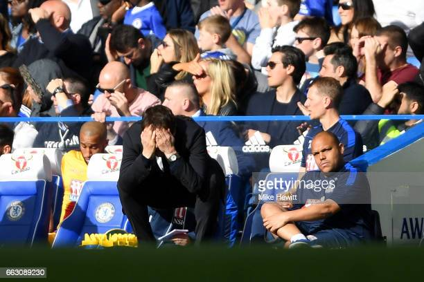 Antonio Conte Manager of Chelsea reacts during the Premier League match between Chelsea and Crystal Palace at Stamford Bridge on April 1 2017 in...