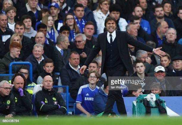 Antonio Conte Manager of Chelsea reacts during the Premier League match between Chelsea and Middlesbrough at Stamford Bridge on May 8 2017 in London...