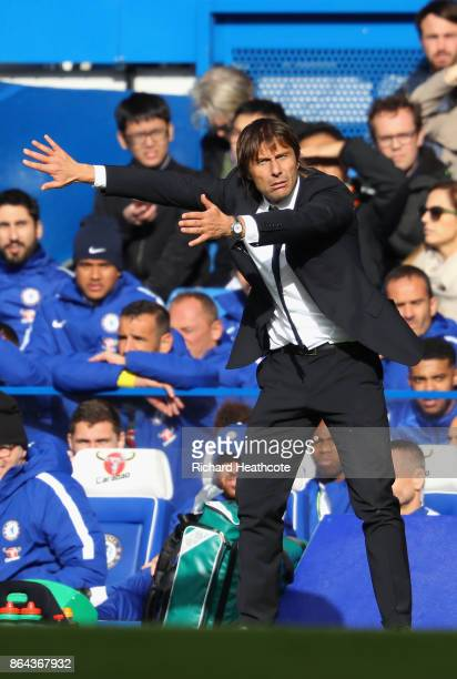Antonio Conte Manager of Chelsea reacts during the Premier League match between Chelsea and Watford at Stamford Bridge on October 21 2017 in London...
