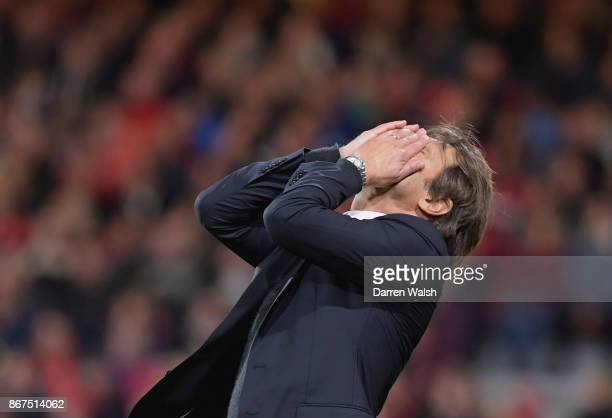 Antonio Conte Manager of Chelsea reacts during the Premier League match between AFC Bournemouth and Chelsea at Vitality Stadium on October 28 2017 in...