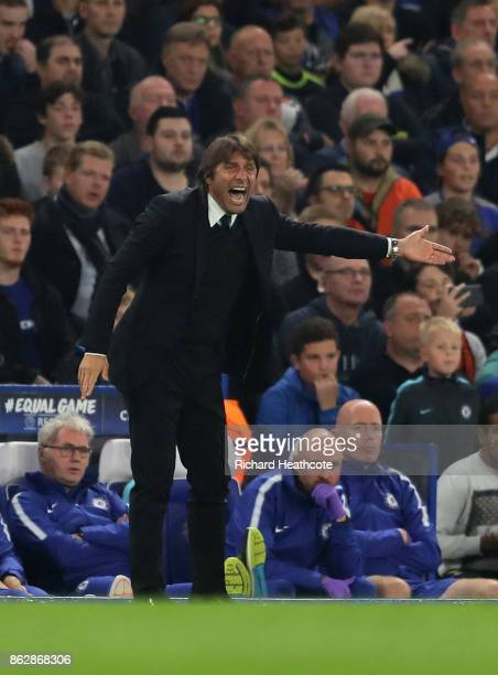 Antonio Conte Manager of Chelsea reacts during the UEFA Champions League group C match between Chelsea FC and AS Roma at Stamford Bridge on October...