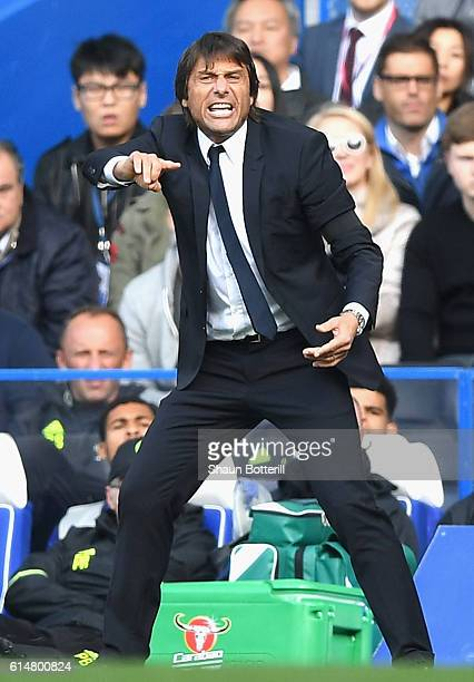 Antonio Conte Manager of Chelsea reacts on the side line during the Premier League match between Chelsea and Leicester City at Stamford Bridge on...
