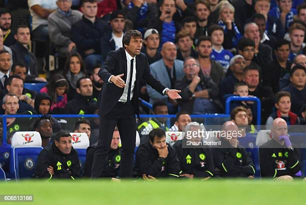 Antonio Conte manager of Chelsea reacts on the touchline during the Premier League match between Chelsea and Liverpool at Stamford Bridge on...