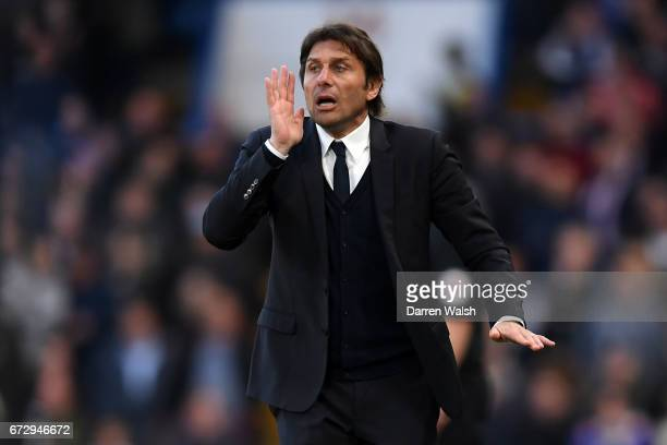 Antonio Conte manager of Chelsea shouts during the Premier League match between Chelsea and Southampton at Stamford Bridge on April 25 2017 in London...