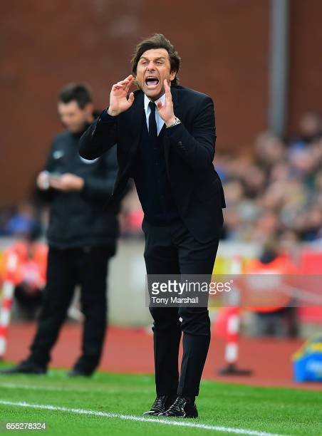 Antonio Conte Manager of Chelsea shouts his instructions from the touch line during the Premier League match between Stoke City and Chelsea at Bet365...
