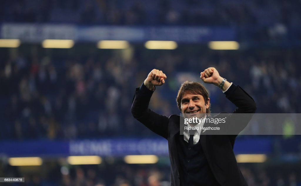 Antonio Conte, Manager of Chelsea shows appreciation to the fans after the Premier League match between Chelsea and Watford at Stamford Bridge on May 15, 2017 in London, England.