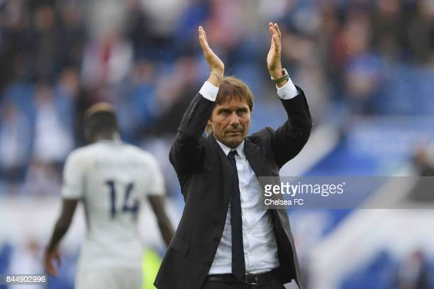 Antonio Conte Manager of Chelsea shows appreciation to the fans after the Premier League match between Leicester City and Chelsea at The King Power...