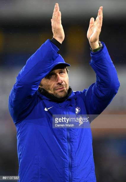 Antonio Conte Manager of Chelsea shows appreciation to the fans after the Premier League match between Huddersfield Town and Chelsea at John Smith's...