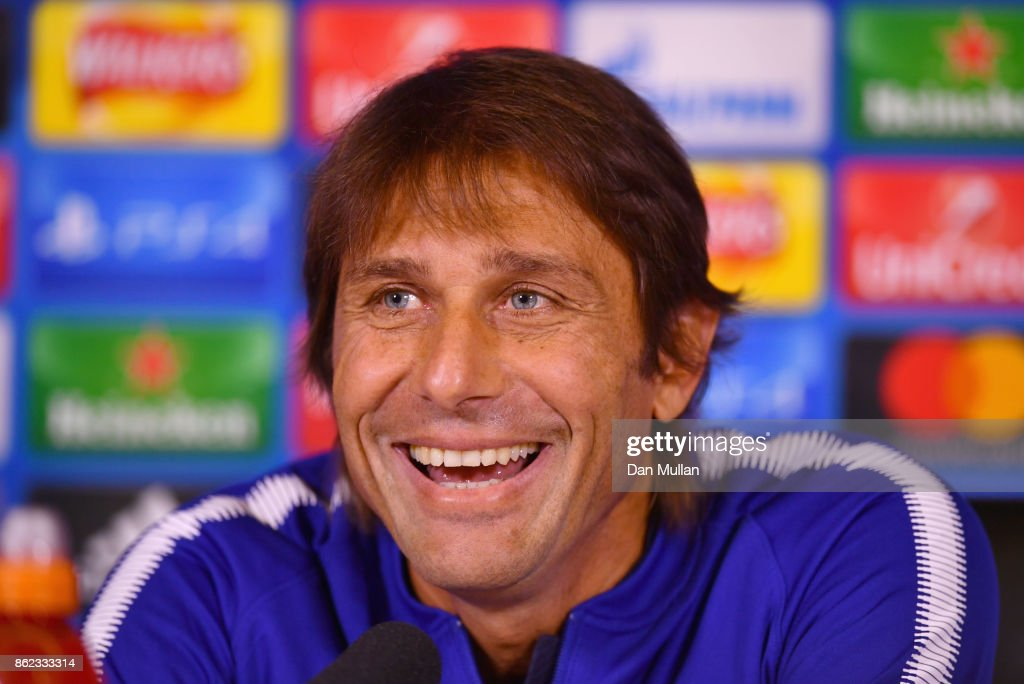 Antonio Conte, Manager of Chelsea smiles during a Chelsea press conference on the eve of their UEFA Champions League match against AS Roma at Chelsea Training Ground on October 17, 2017 in Cobham, England.