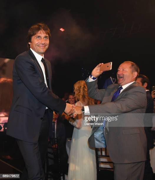 Antonio Conte Manager of Chelsea walks out during the Chelsea Player of the Year awards at Battersea Evolution on May 28 2017 in London England