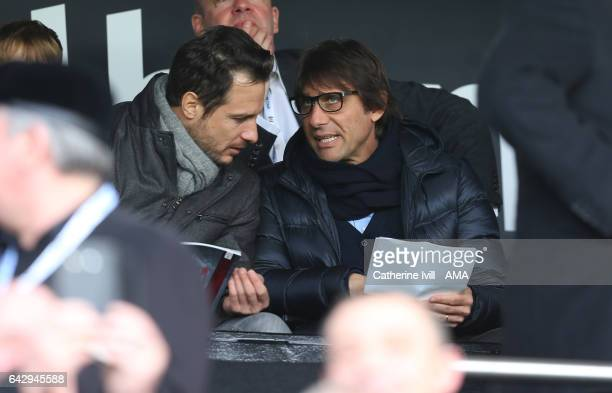 Antonio Conte manager of Chelsea with Carlo Cudicini during The Emirates FA Cup Fifth Round match between Fulham and Tottenham Hotspur at Craven...
