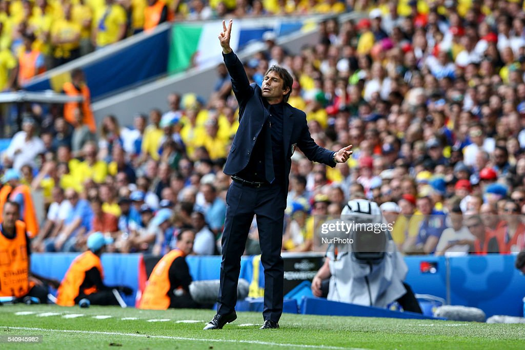 Antonio Conte manager of Italy during the UEFA EURO 2016 Group E match between Italy and Sweden at Stadium Municipal on June 17, 2016 in Toulouse, France.