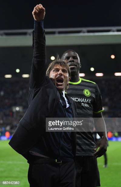 Antonio Conte of Chelsea celebrates winning the title after the Premier League match between West Bromwich Albion and Chelsea at The Hawthorns on May...