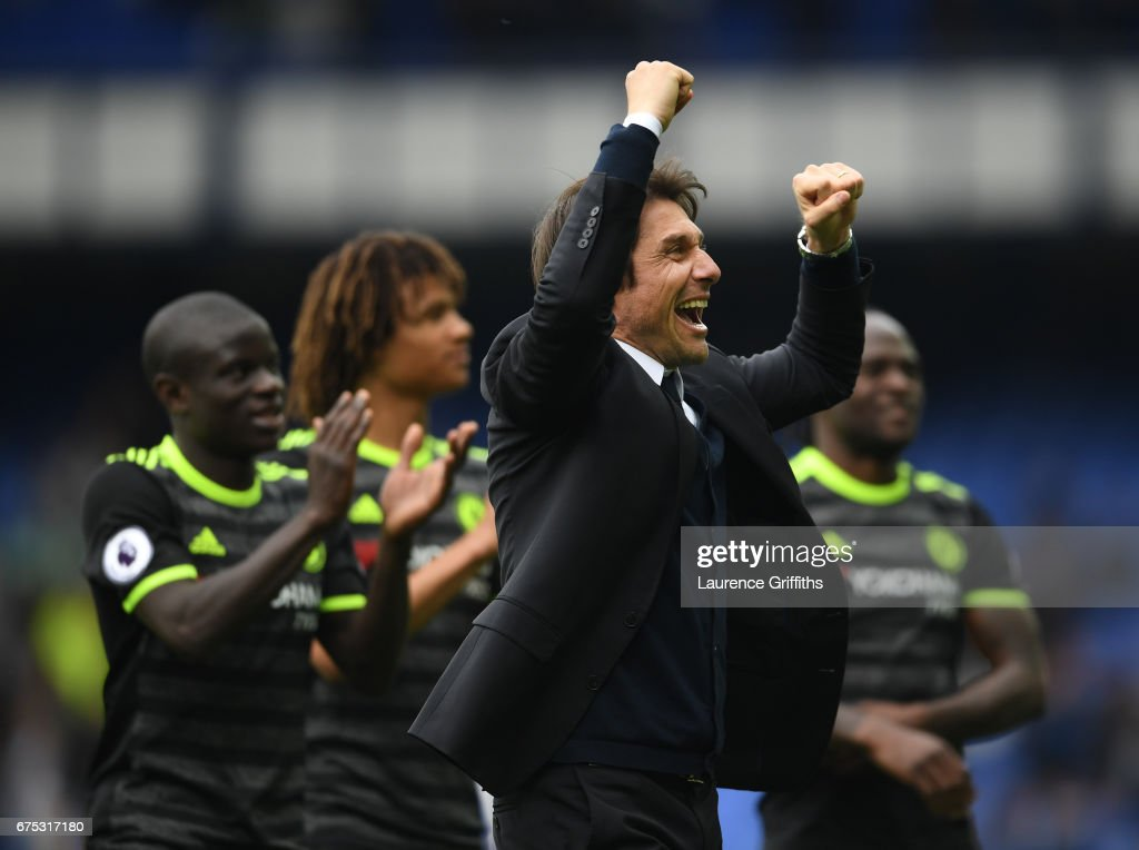 Antonio Conte of Chelsea celebrates with the fans after victory in the Premier League match between Everton and Chelsea at Goodison Park on April 30, 2017 in Liverpool, England.