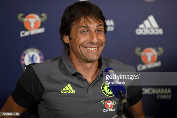 Antonio Conte of Chelsea during a Press Conference at Chelsea Training Ground on August 12 2016 in Cobham England