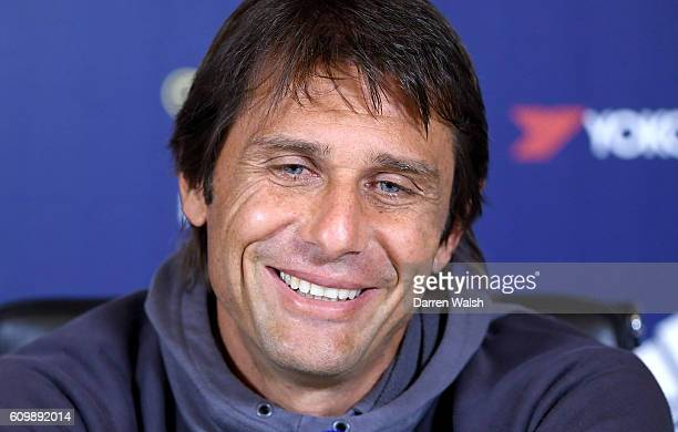 Antonio Conte of Chelsea during a press conference at Chelsea Training Ground on September 23 2016 in Cobham England