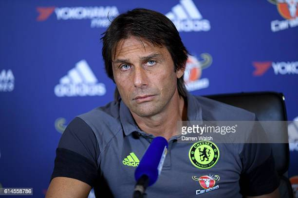 Antonio Conte of Chelsea during a press conference at Chelsea Training Ground on October 14 2016 in Cobham England