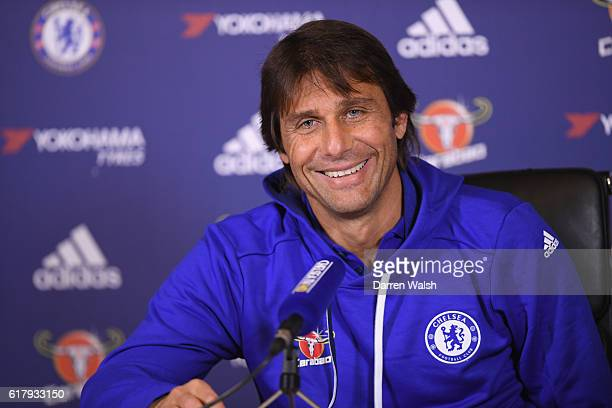 Antonio Conte of Chelsea during a press conference at Chelsea Training Ground on October 25 2016 in Cobham England