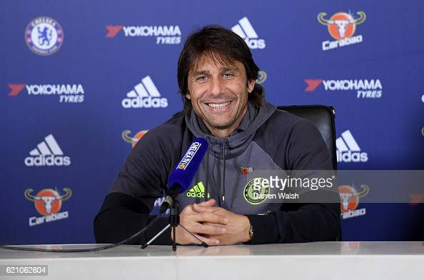 Antonio Conte of Chelsea during a press conference at Chelsea Training Ground on November 4 2016 in Cobham England
