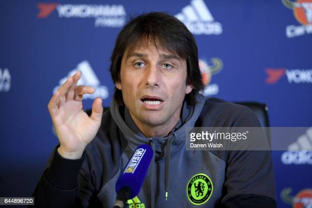 Antonio Conte of Chelsea during a press conference at Chelsea Training Ground on February 24 2017 in Cobham England