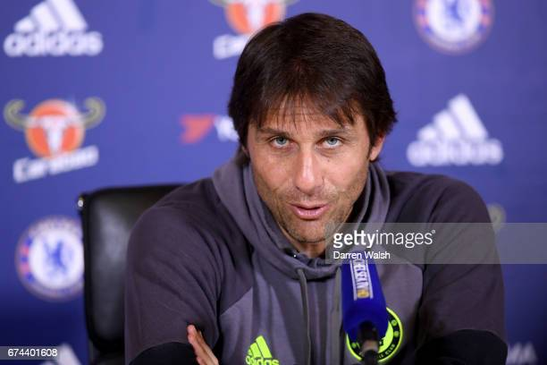 Antonio Conte of Chelsea during a press conference at Chelsea Training Ground on April 28 2017 in Cobham England