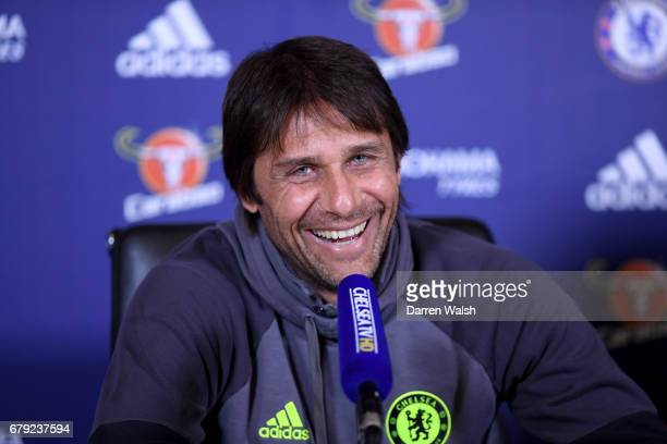 Antonio Conte of Chelsea during a press conference at Chelsea Training Ground on May 5 2017 in Cobham England