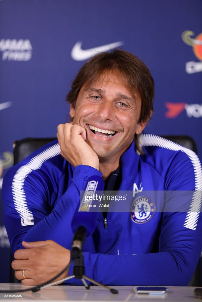 Antonio Conte of Chelsea during a press conference at Chelsea Training Ground on August 18, 2017 in Cobham, England.