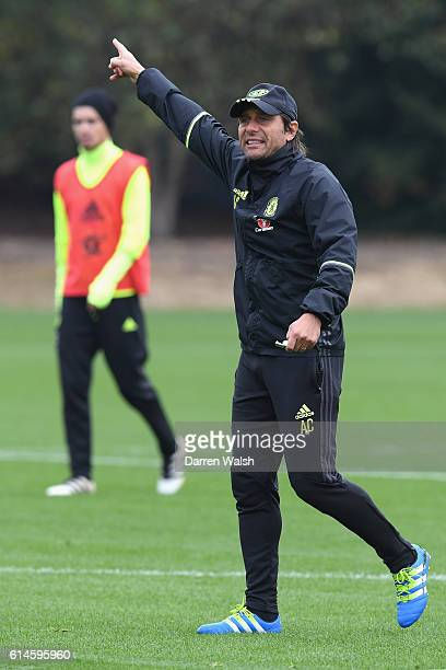 Antonio Conte of Chelsea during a training session at Chelsea Training Ground on October 14 2016 in Cobham England