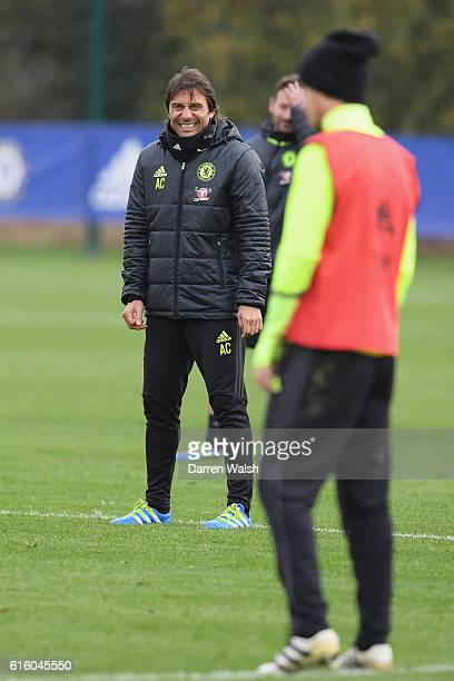 Antonio Conte of Chelsea during a training session at Chelsea Training Ground on October 21 2016 in Cobham England