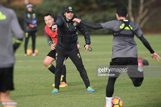Antonio Conte of Chelsea during a training session at Chelsea Training Ground on January 13 2017 in Cobham England