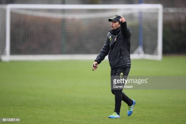 Antonio Conte of Chelsea during a training session at Chelsea Training Ground on March 10 2017 in Cobham England