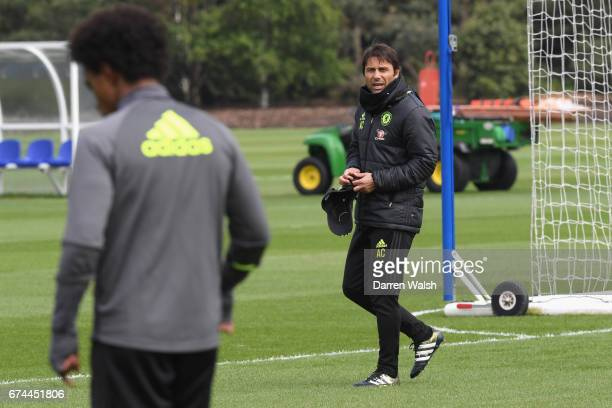 Antonio Conte of Chelsea during a training session at Chelsea Training Ground on April 28 2017 in Cobham England