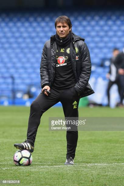 Antonio Conte of Chelsea during a training session at Stamford Bridge on May 11 2017 in London England