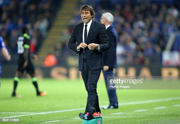 Antonio Conte of Chelsea during the EFL third round cup match between Leicester City and Chelsea at the King Power Stadium on September 20th 2016 in...