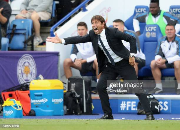 Antonio Conte of Chelsea in action during the Premier League match between Leicester City and Chelsea at The King Power Stadium on September 9 2017...
