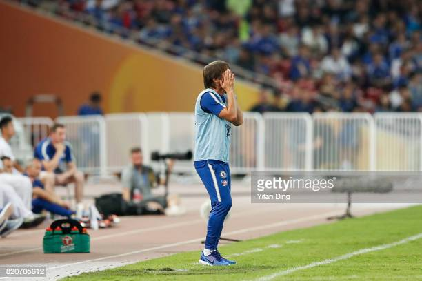 Antonio Conte of Chelsea reacts during the PreSeason Friendly match between Arsenal FC and Chelsea FC at Birds Nest on July 22 2017 in Beijing China
