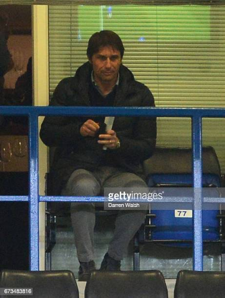 Antonio Conte watches on from the stands during the FA Youth Cup Final second leg between Chelsea and Mancherster City at Stamford Bridge on April 26...
