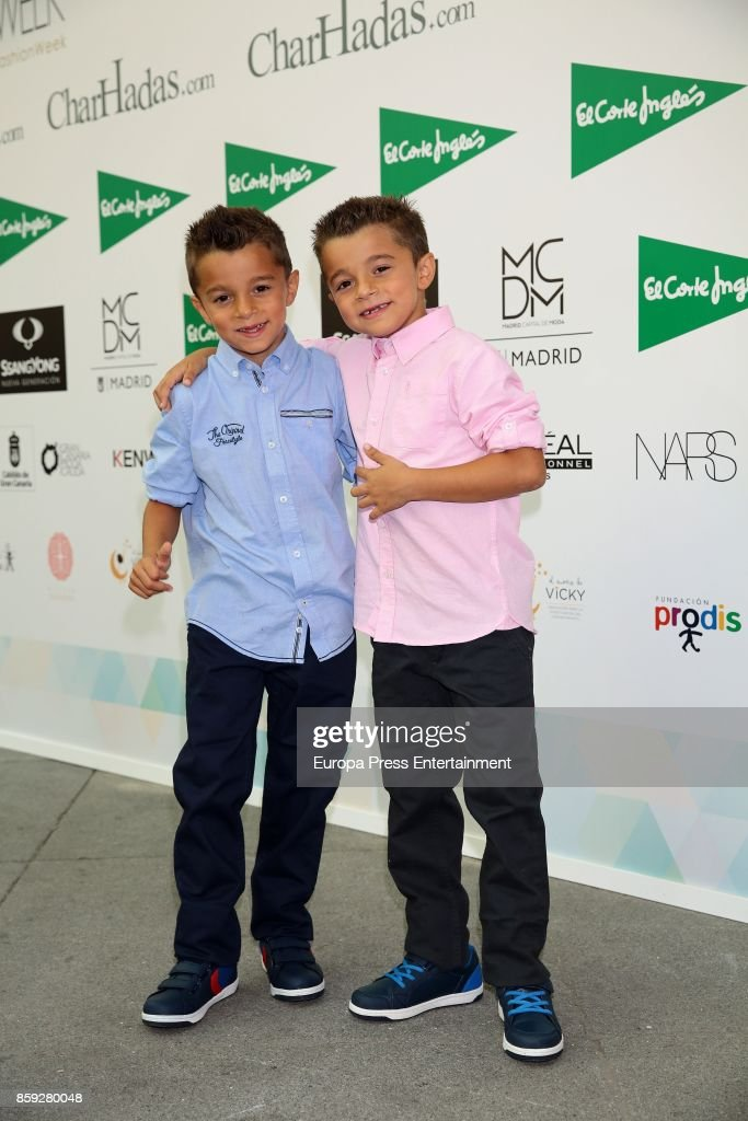 Antonio Cortes (L) and Paco Cortes (R) of 'Los Gemelos Cortes' attend 'The Petite Fashion Week' Photocall at Cibeles Palace on October 6, 2017 in Madrid, Spain.