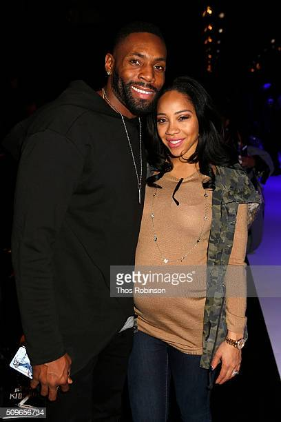 Antonio Cromartie and his wife attend Nike/Levi's Kids Rock Runway Show on February 11 2016 in New York City